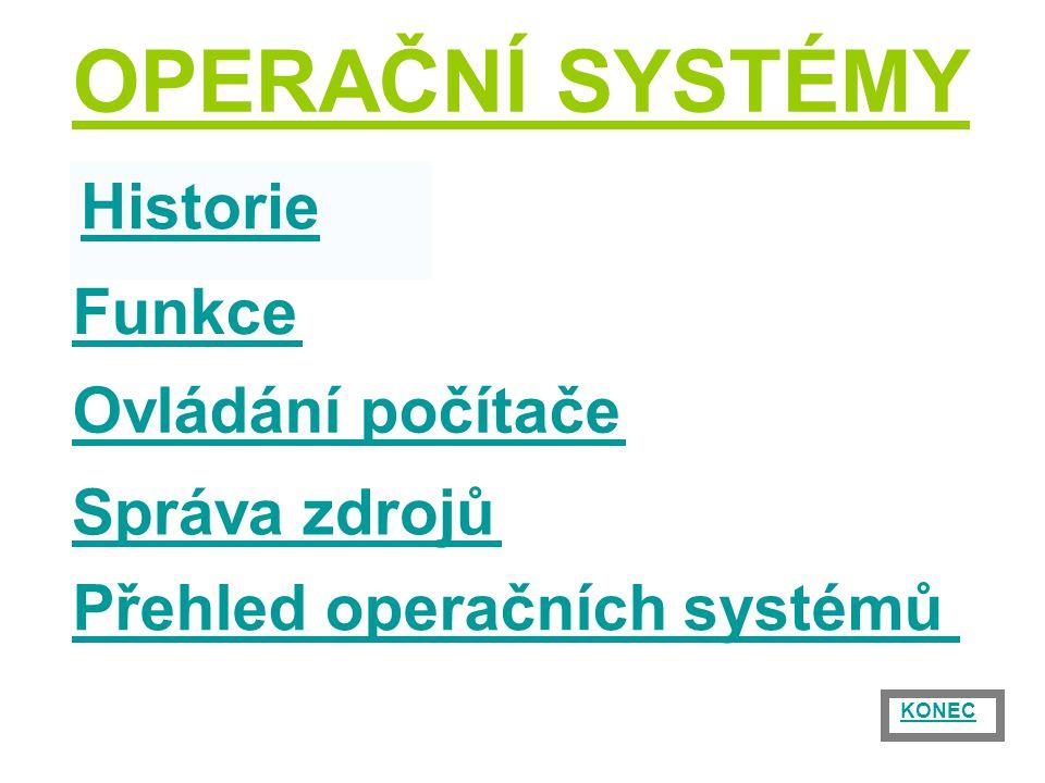 Historie Ovládání počítače Správa zdrojů Přehled operačních systémů Funkce OPERAČNÍ SYSTÉMY KONEC