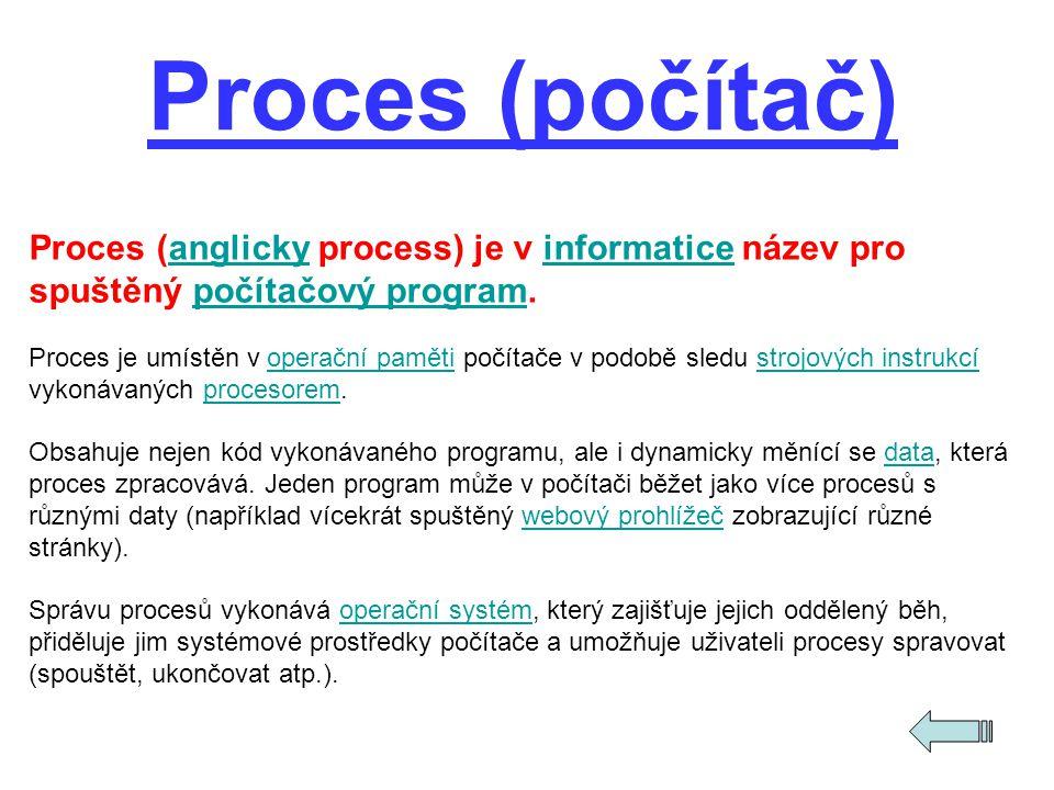 Proces (anglicky process) je v informatice název pro spuštěný počítačový program.anglickyinformaticepočítačový program Proces je umístěn v operační pa
