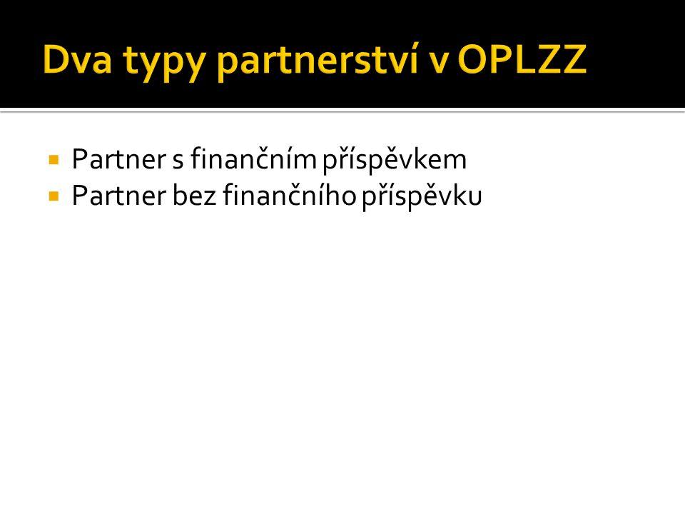  Partner s finančním příspěvkem  Partner bez finančního příspěvku