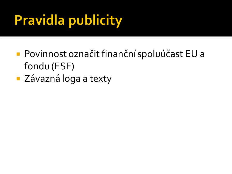  Povinnost označit finanční spoluúčast EU a fondu (ESF)  Závazná loga a texty