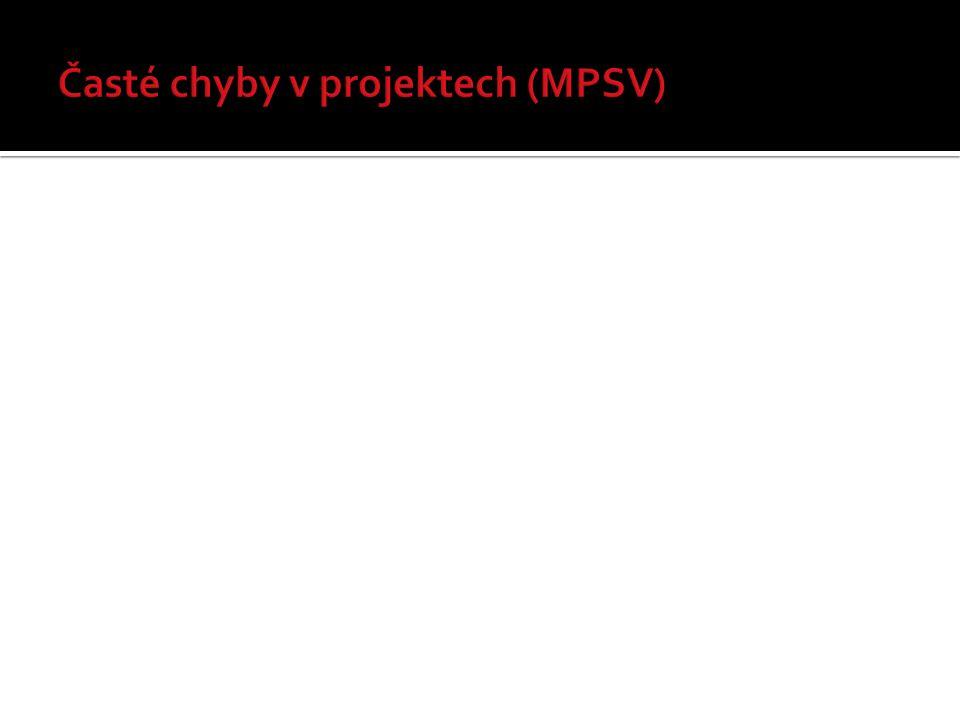 Nejčastější chyby:  chybějící podpisy (žádost + přílohy)  odlišný počet listů (seznam příloh x skutečnost)  pevnost vazby  chybějící doklady o právní subjektivitě (viz Příručka pro žadatele OP LZZ)  není jasné, kdo je statutárním zástupcem organizace Projektová žádost musí být:  finalizovaná v aplikaci Benefit7 (ne pracovní verze)  po finalizaci a odeslání nelze do projektu zasahovat (tj.