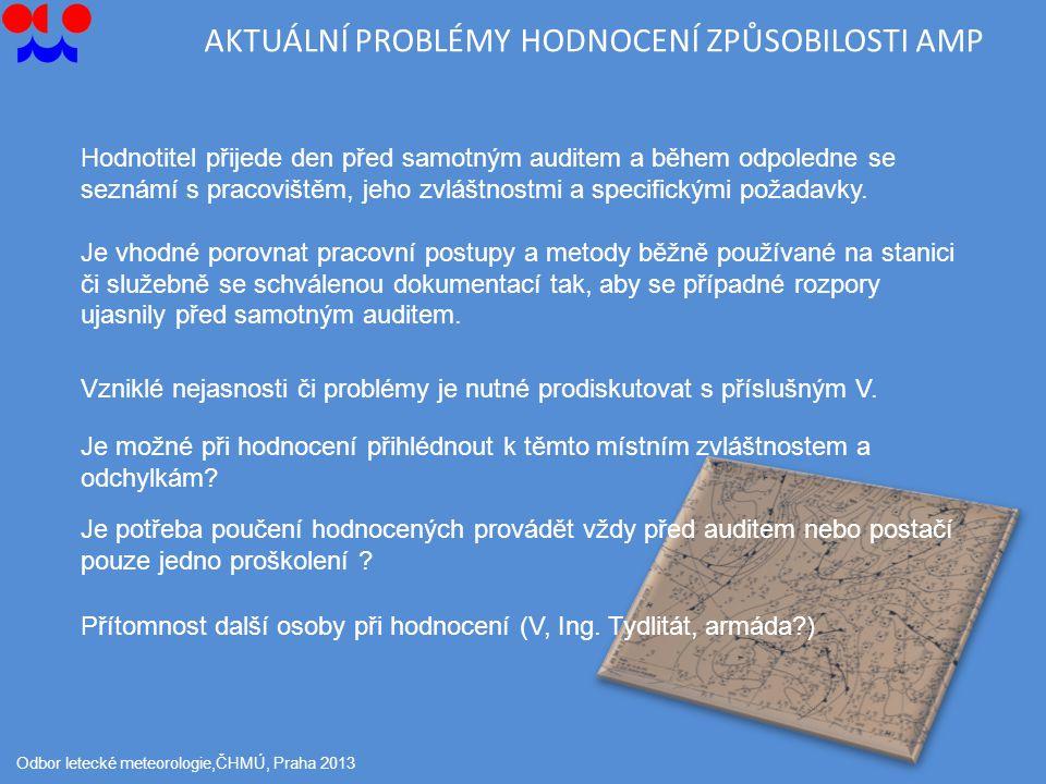 Odbor letecké meteorologie,ČHMÚ, Praha 2013 Hodnotitel přijede den před samotným auditem a během odpoledne se seznámí s pracovištěm, jeho zvláštnostmi a specifickými požadavky.