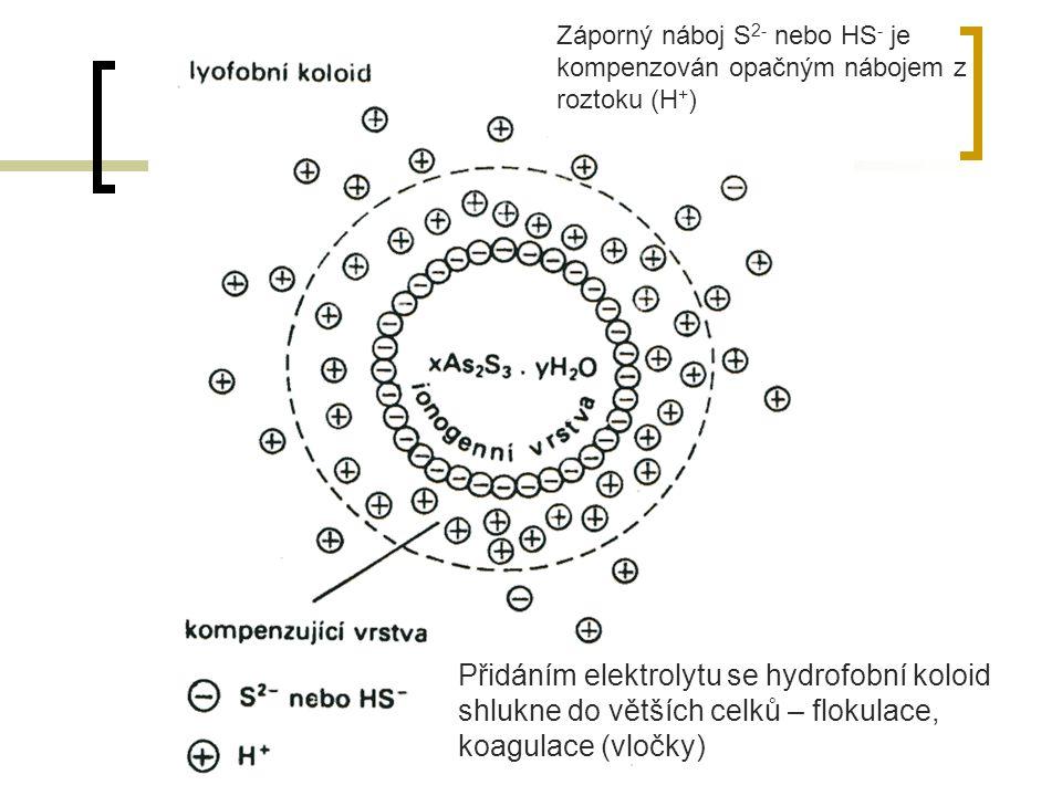 Přidáním elektrolytu se hydrofobní koloid shlukne do větších celků – flokulace, koagulace (vločky) Záporný náboj S 2- nebo HS - je kompenzován opačným