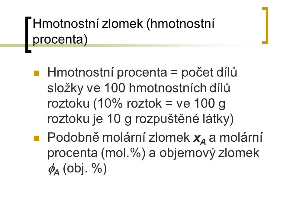 Hmotnostní zlomek (hmotnostní procenta) Hmotnostní procenta = počet dílů složky ve 100 hmotnostních dílů roztoku (10% roztok = ve 100 g roztoku je 10