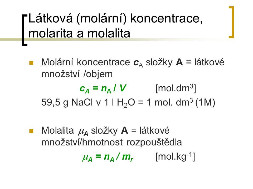 Látková (molární) koncentrace, molarita a molalita Molární koncentrace c A složky A = látkové množství /objem c A = n A / V[mol.dm 3 ] 59,5 g NaCl v 1