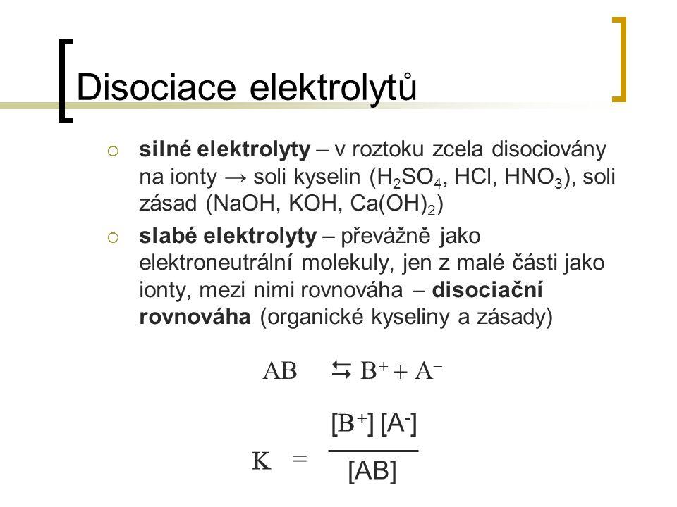 Disociace elektrolytů  silné elektrolyty – v roztoku zcela disociovány na ionty → soli kyselin (H 2 SO 4, HCl, HNO 3 ), soli zásad (NaOH, KOH, Ca(OH)