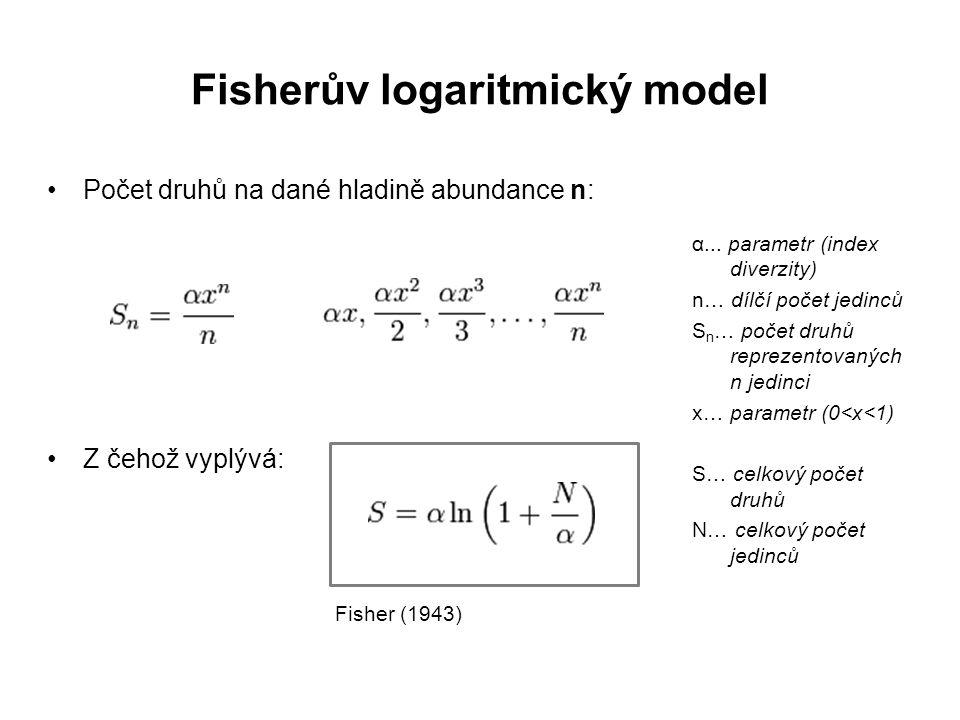 Počet druhů na dané hladině abundance n: Z čehož vyplývá: Fisher (1943) Fisherův logaritmický model α...
