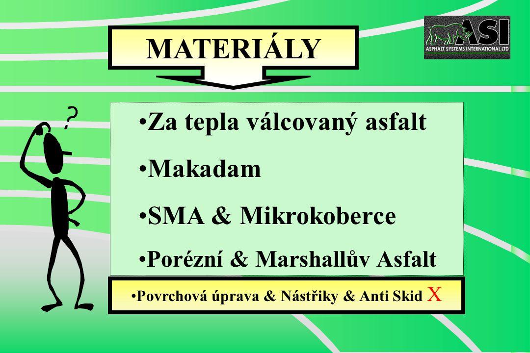 Za tepla válcovaný asfalt Makadam SMA & Mikrokoberce Porézní & Marshallův Asfalt Povrchová úprava & Nástřiky & Anti Skid X MATERIÁLY