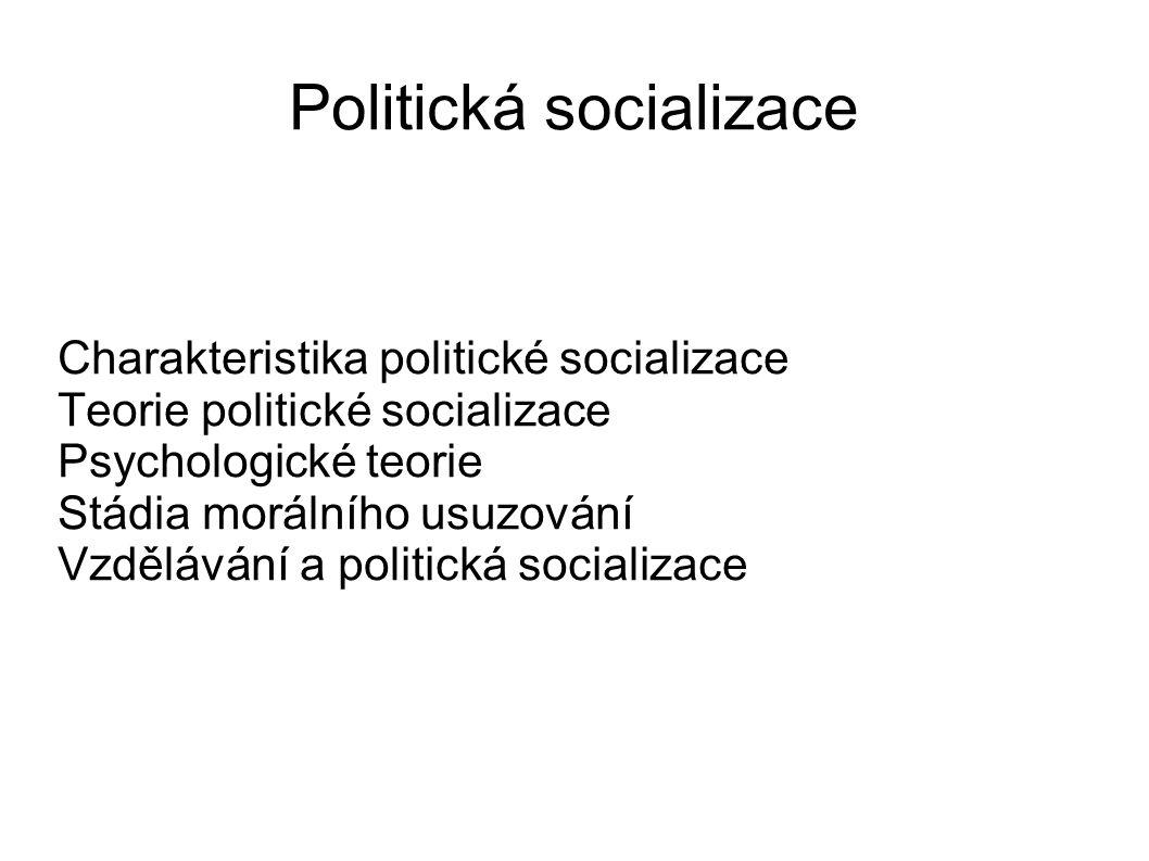 Politická socializace Charakteristika politické socializace Teorie politické socializace Psychologické teorie Stádia morálního usuzování Vzdělávání a