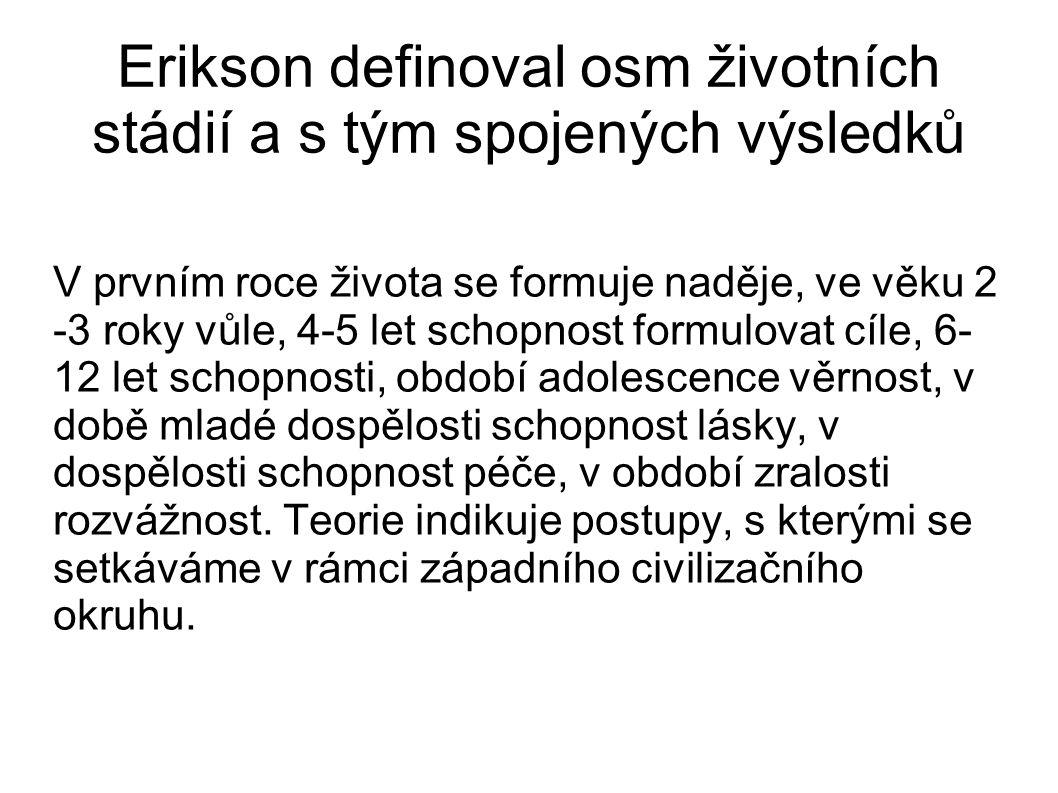 Erikson definoval osm životních stádií a s tým spojených výsledků V prvním roce života se formuje naděje, ve věku 2 -3 roky vůle, 4-5 let schopnost fo