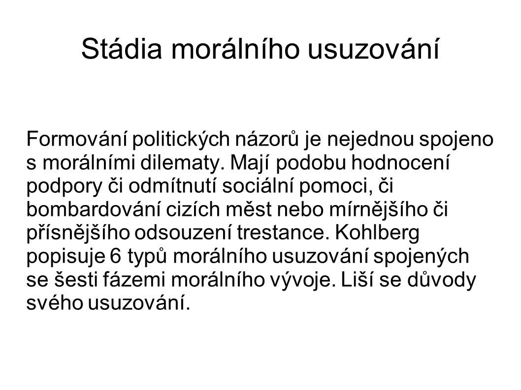 Stádia morálního usuzování Formování politických názorů je nejednou spojeno s morálními dilematy.