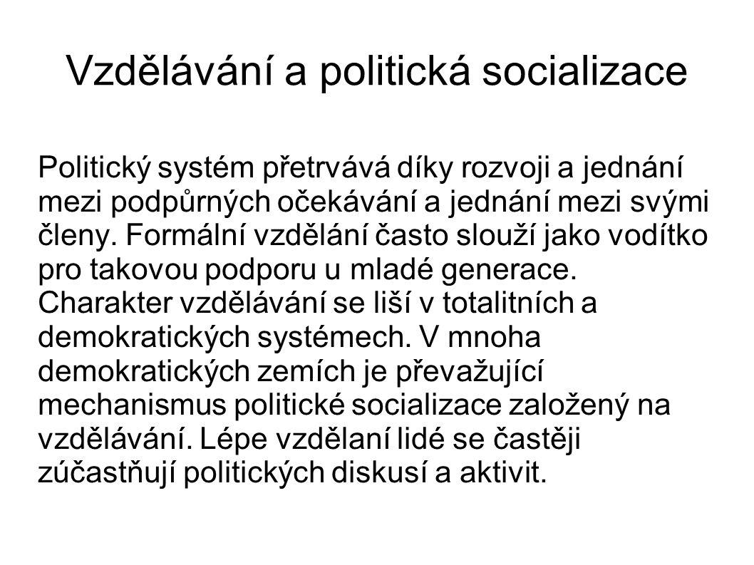 Vzdělávání a politická socializace Politický systém přetrvává díky rozvoji a jednání mezi podpůrných očekávání a jednání mezi svými členy. Formální vz