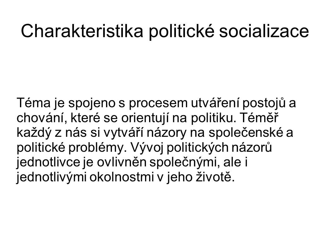 Charakteristika politické socializace Téma je spojeno s procesem utváření postojů a chování, které se orientují na politiku. Téměř každý z nás si vytv