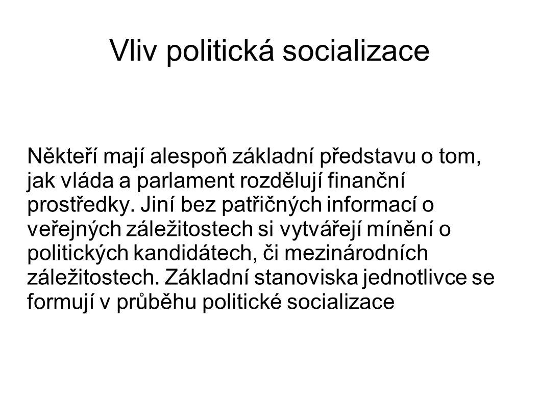 Vliv politická socializace Někteří mají alespoň základní představu o tom, jak vláda a parlament rozdělují finanční prostředky. Jiní bez patřičných inf