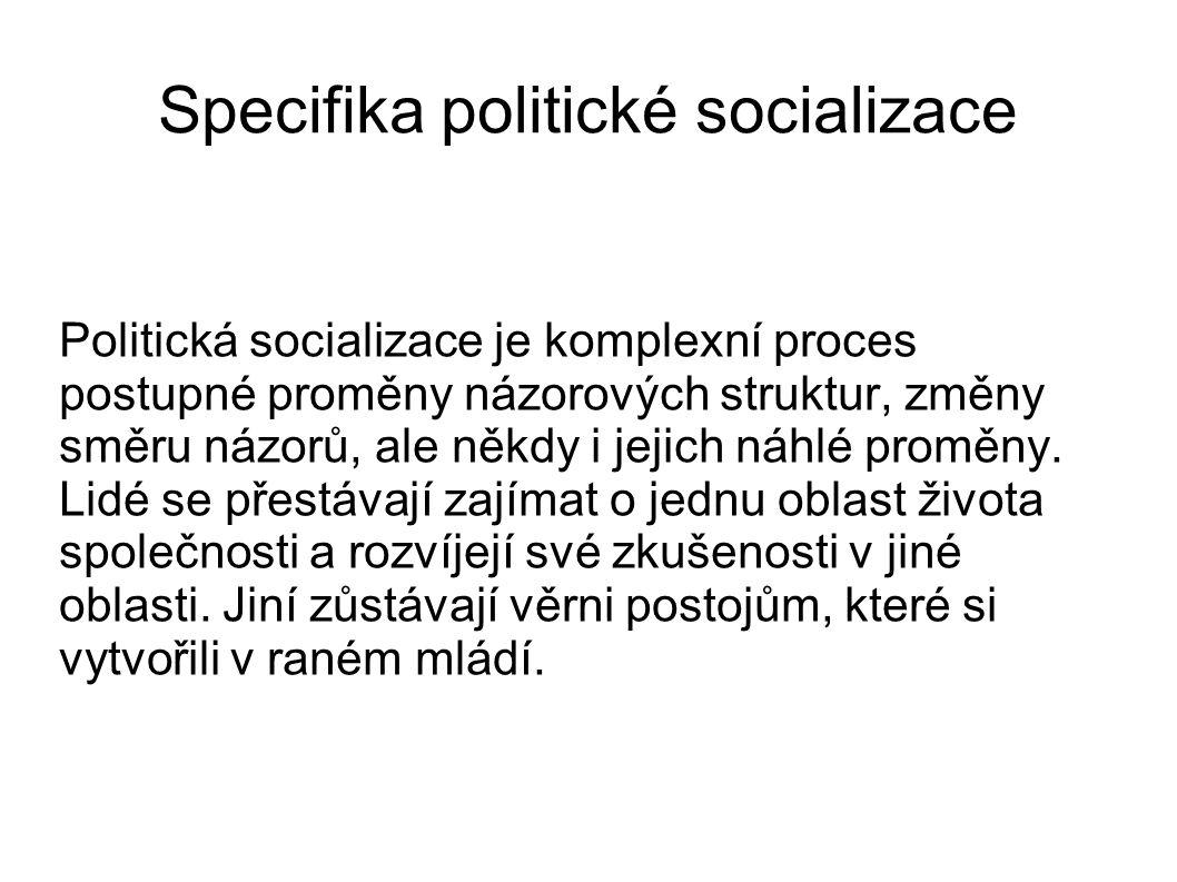 Specifika politické socializace Politická socializace je komplexní proces postupné proměny názorových struktur, změny směru názorů, ale někdy i jejich náhlé proměny.