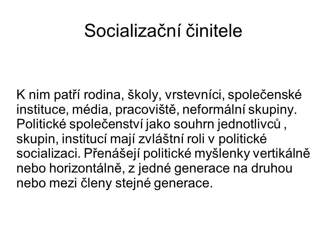 Socializační činitele K nim patří rodina, školy, vrstevníci, společenské instituce, média, pracoviště, neformální skupiny. Politické společenství jako