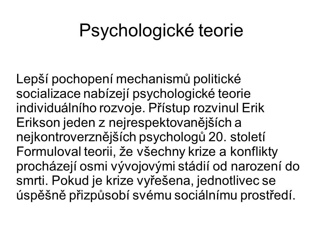 Psychologické teorie Lepší pochopení mechanismů politické socializace nabízejí psychologické teorie individuálního rozvoje. Přístup rozvinul Erik Erik