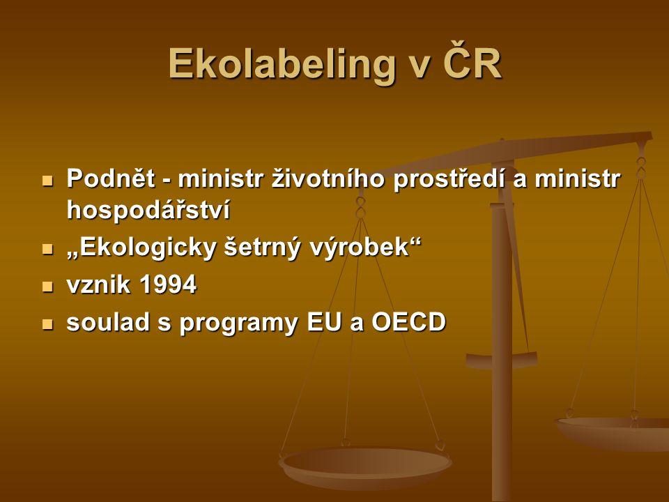 Hlavní úkoly ekolabelingu   stanovení směrnic – tj.