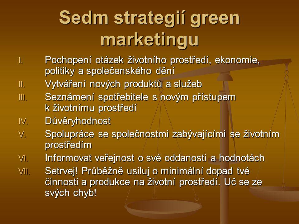 Proč konvenční marketing nemůže fungovat žádoucí jsou nové strategie a inovované produkty a služby žádoucí jsou nové strategie a inovované produkty a služby účely ekologického marketingu: účely ekologického marketingu: vyvíjení produktů vytváření image podniku odpovědnost za dodržování přísných standardů odpovědnost za dodržování přísných standardů