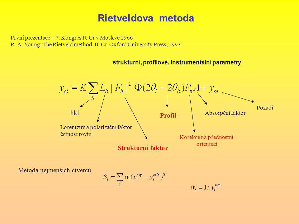 Rietveldova metoda První prezentace – 7. Kongres IUCr v Moskvě 1966 R.
