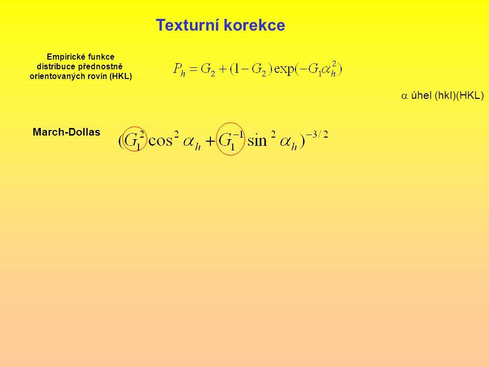 Texturní korekce Empirické funkce distribuce přednostně orientovaných rovin (HKL)  úhel (hkl)(HKL) March-Dollas