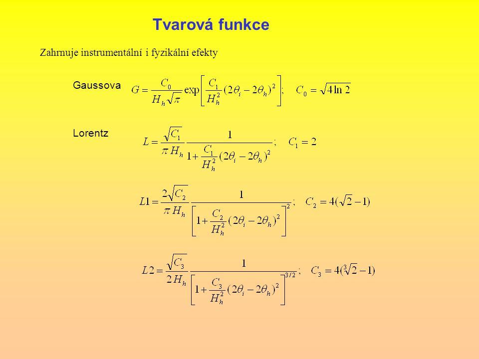 Tvarová funkce Zahrnuje instrumentální i fyzikální efekty Gaussova Lorentz