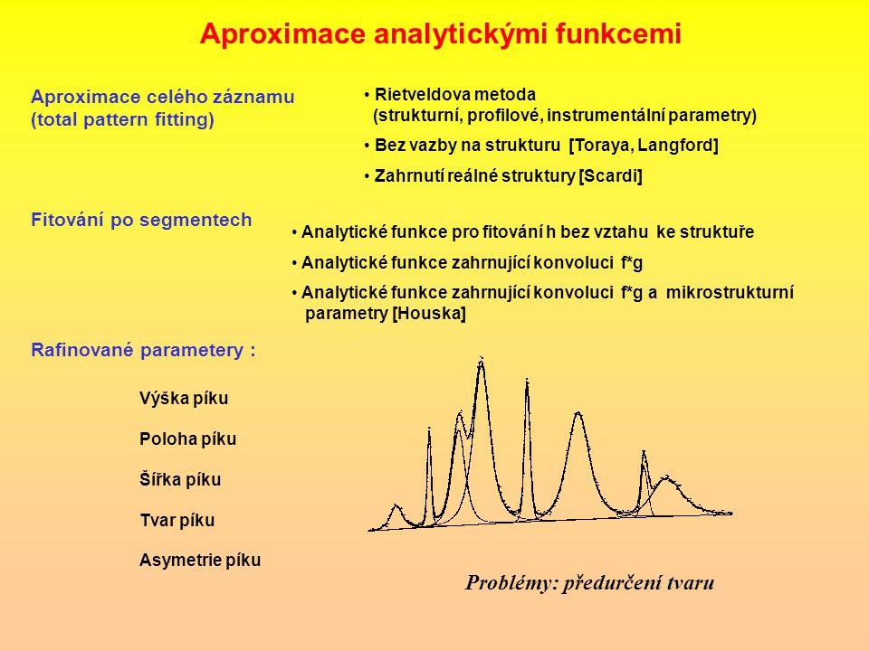 Aproximace celého záznamu (total pattern fitting) Analytické funkce pro fitování h bez vztahu ke struktuře Analytické funkce zahrnující konvoluci f*g Analytické funkce zahrnující konvoluci f*g a mikrostrukturní parametry [Houska] Problémy: předurčení tvaru Rafinované parametery : Výška píku Poloha píku Šířka píku Tvar píku Asymetrie píku Aproximace analytickými funkcemi Rietveldova metoda (strukturní, profilové, instrumentální parametry) Rietveldova metoda (strukturní, profilové, instrumentální parametry) Bez vazby na strukturu [Toraya, Langford] Bez vazby na strukturu [Toraya, Langford] Zahrnutí reálné struktury [Scardi] Zahrnutí reálné struktury [Scardi] Fitování po segmentech