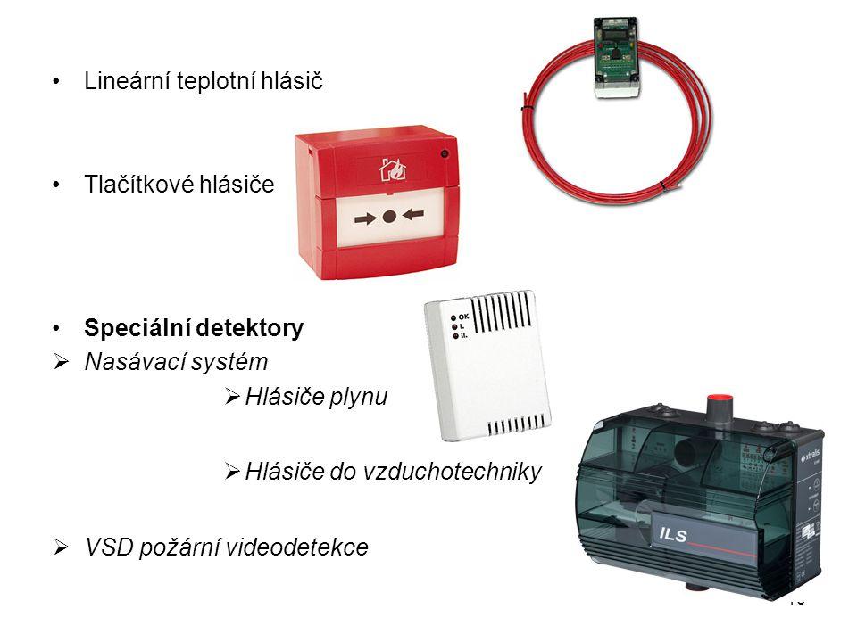 Lineární teplotní hlásič Tlačítkové hlásiče Speciální detektory  Nasávací systém  Hlásiče plynu  Hlásiče do vzduchotechniky  VSD požární videodete