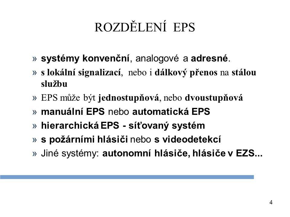 4 ROZDĚLENÍ EPS »systémy konvenční, analogové a adresné. » s lokální signalizací, nebo i dálkový přenos na stálou službu » EPS může být jednostupňová,