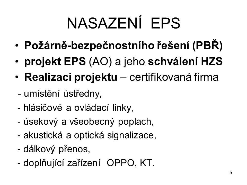 NASAZENÍ EPS Požárně-bezpečnostního řešení (PBŘ) projekt EPS (AO) a jeho schválení HZS Realizaci projektu – certifikovaná firma - umístění ústředny, -