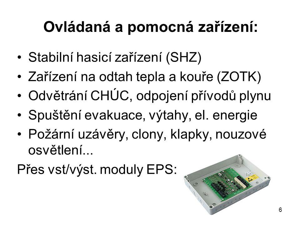 Ovládaná a pomocná zařízení: Stabilní hasicí zařízení (SHZ) Zařízení na odtah tepla a kouře (ZOTK) Odvětrání CHÚC, odpojení přívodů plynu Spuštění eva