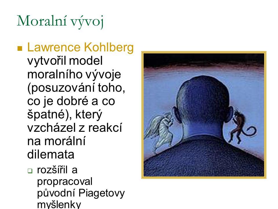 Moralní vývoj Lawrence Kohlberg vytvořil model moralního vývoje (posuzování toho, co je dobré a co špatné), který vzcházel z reakcí na morální dilemata  rozšířil a propracoval původní Piagetovy myšlenky
