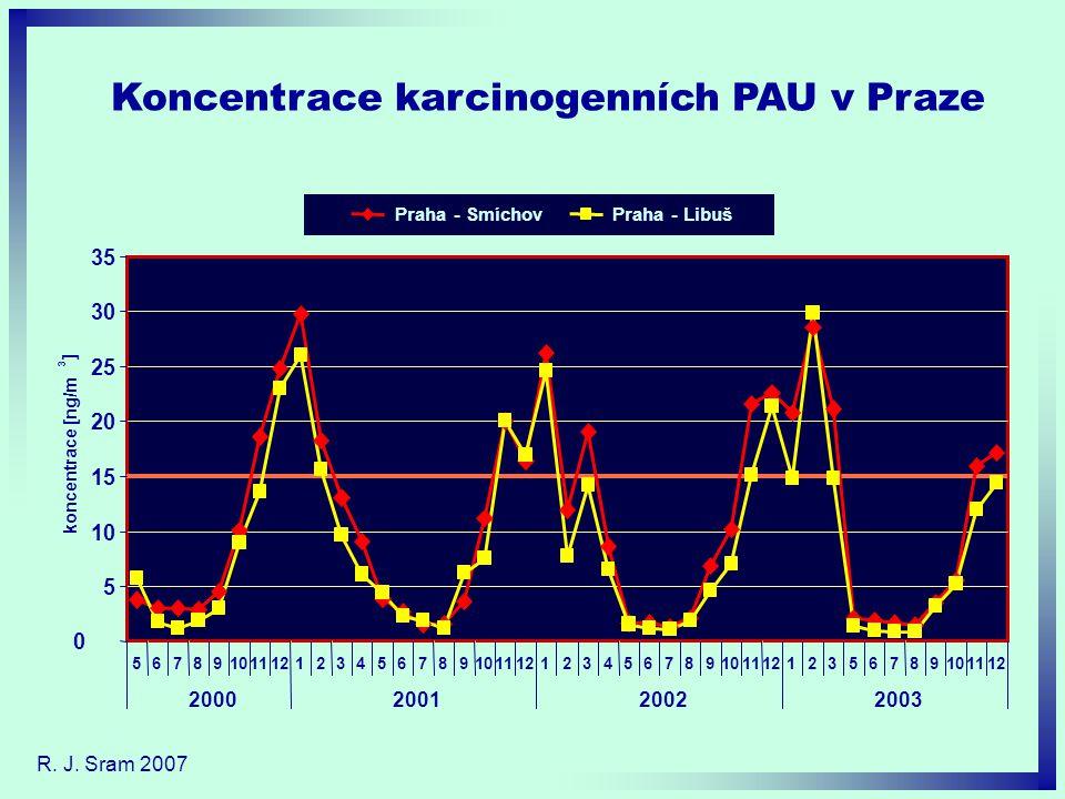 Koncentrace karcinogenních PAU v Praze R. J. Sram 2007