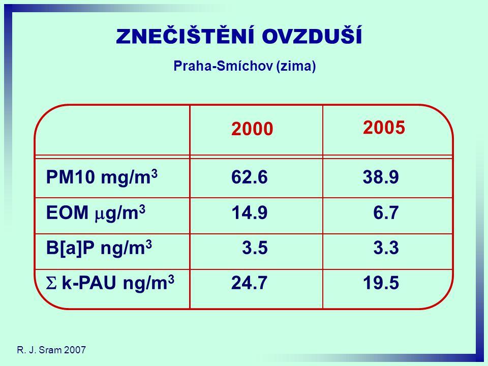 2005 2000 PM10 mg/m 3 EOM  g/m 3 B[a]P ng/m 3  k-PAU ng/m 3 62.6 14.9 3.5 24.7 38.9 6.7 3.3 19.5 ZNEČIŠTĚNÍ OVZDUŠÍ Praha-Smíchov (zima)