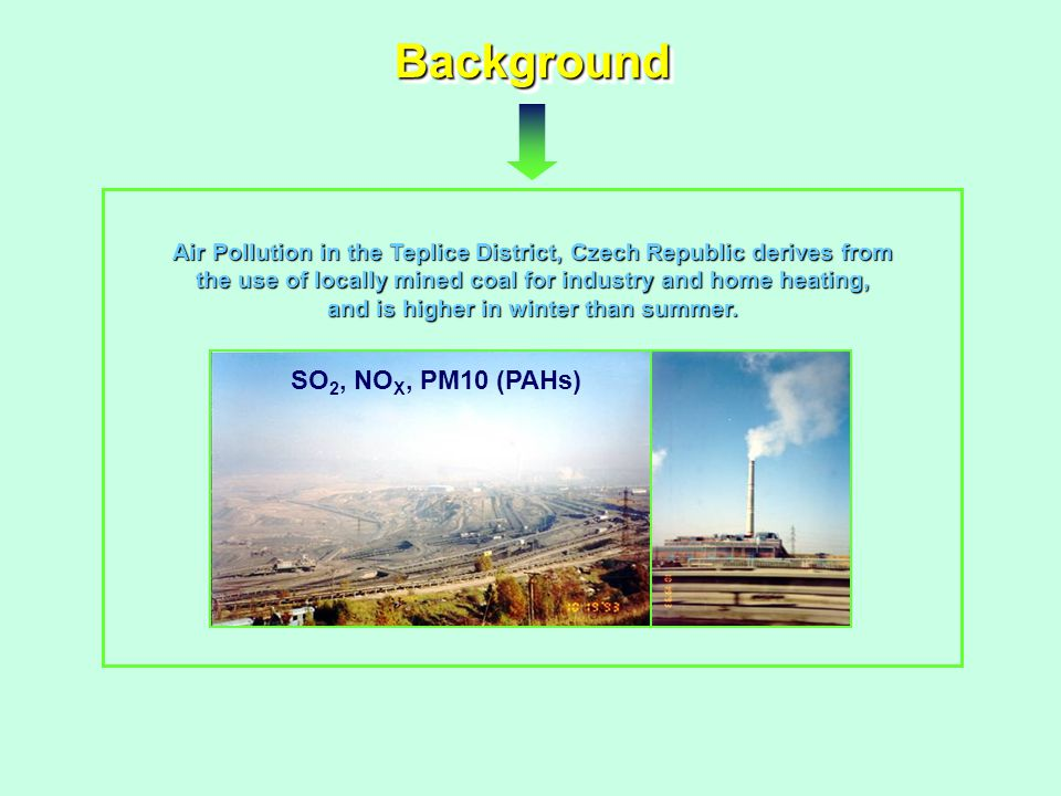 BackgroundBackground Air Pollution in the Teplice District, Czech Republic derives from the use of locally mined coal for industry and home heating, and is higher in winter than summer.