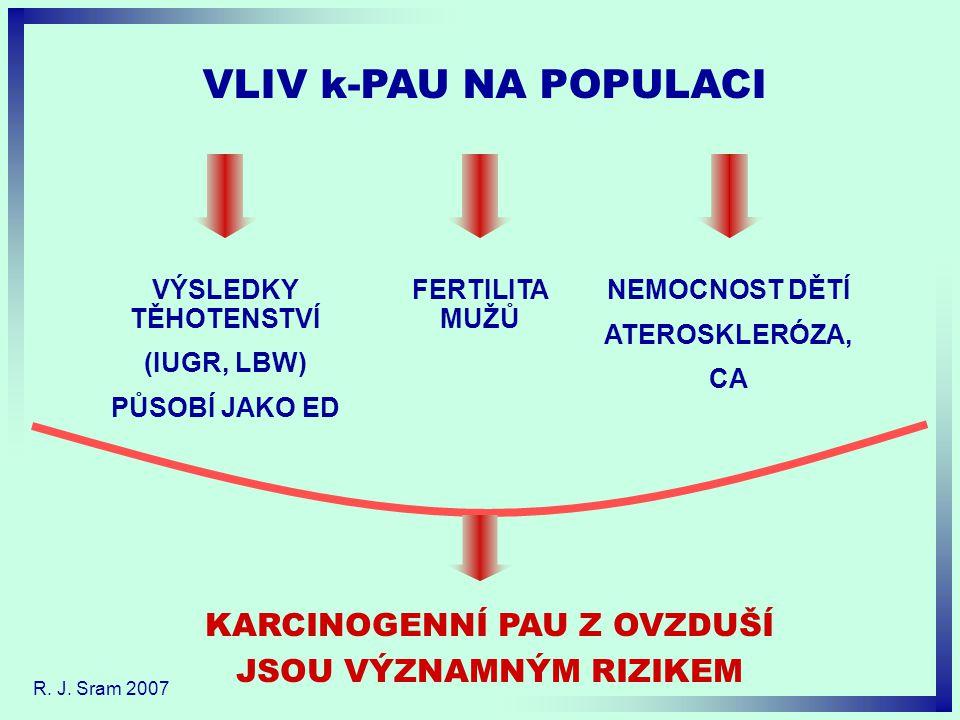 VÝSLEDKY TĚHOTENSTVÍ (IUGR, LBW) PŮSOBÍ JAKO ED NEMOCNOST DĚTÍ ATEROSKLERÓZA, CA VLIV k-PAU NA POPULACI FERTILITA MUŽŮ KARCINOGENNÍ PAU Z OVZDUŠÍ JSOU VÝZNAMNÝM RIZIKEM R.