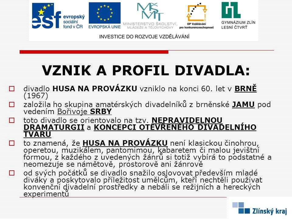 VZNIK A PROFIL DIVADLA:  divadlo HUSA NA PROVÁZKU vzniklo na konci 60. let v BRNĚ (1967)  založila ho skupina amatérských divadelníků z brněnské JAM