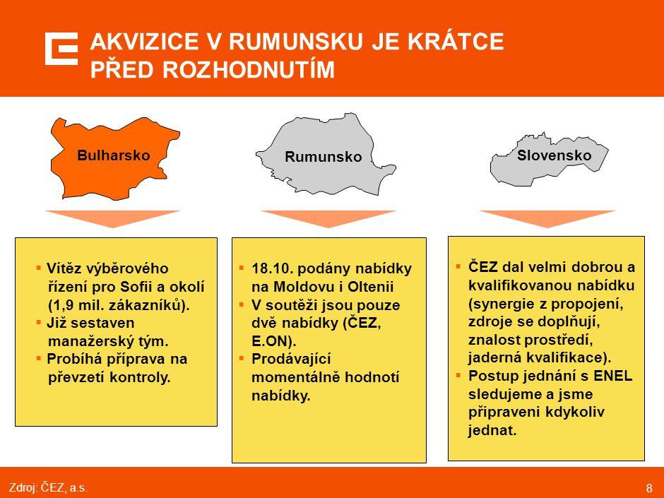 8  Vítěz výběrového řízení pro Sofii a okolí (1,9 mil. zákazníků).  Již sestaven manažerský tým.  Probíhá příprava na převzetí kontroly.  18.10. p