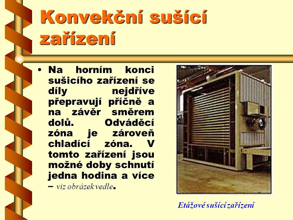 Konvekční sušící zařízení Etážová sušící zařízení, označovaná také jako věžové nebo svislé sušárny, se používají tehdy, jsou-li pro plošné díly potřeb
