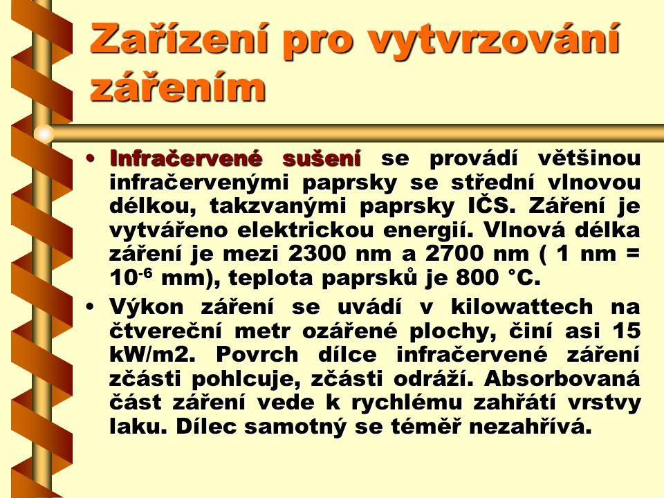 2.7.14.2Zařízení pro vytvrzování zářením V sálavých sušárnách se používá jak sušení infračervenými paprsky (IČ- sušení), tak vytvrzování ultrafialovým