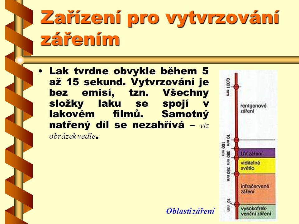 Zařízení pro vytvrzování zářením Infračervené sušení je kvůli použité elektrické energii nákladné. Používá se proto téměř výhradně pro dodatečné zahřá