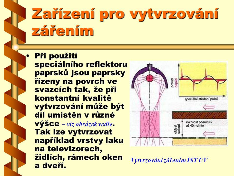 Zařízení pro vytvrzování zářením U konvenčního vytvrzování UV zářením jsou paprsky svázány tak, že vzdálenost mezi povrchem dílu a zářičem nelze měnit