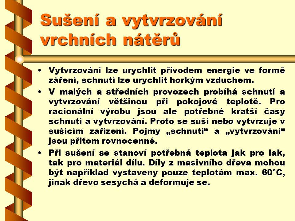 2.7.14Sušení a vytvrzování vrchních nátěrů Po nanesení se musí vrchní nátěr rychle, bezprašně, šetrně k životnímu prostředí a energeticky nenáročně př