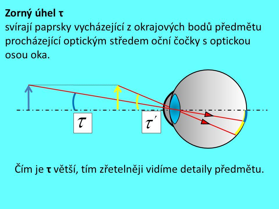 Zorný úhel τ svírají paprsky vycházející z okrajových bodů předmětu procházející optickým středem oční čočky s optickou osou oka.