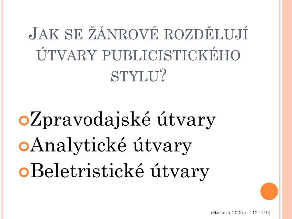 J AK SE ŽÁNROVÉ ROZDĚLUJÍ ÚTVARY PUBLICISTICKÉHO STYLU .