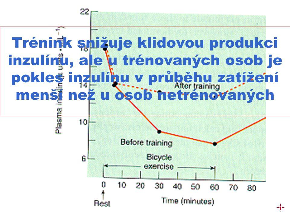 Trénink snižuje klidovou produkci inzulínu, ale u trénovaných osob je pokles inzulínu v průběhu zatížení menší než u osob netrénovaných c