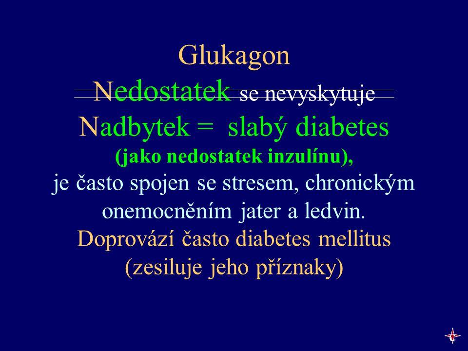 Glukagon N edostatek se nevyskytuje Nadbytek = slabý diabetes (jako nedostatek inzulínu), je často spojen se stresem, chronickým onemocněním jater a l