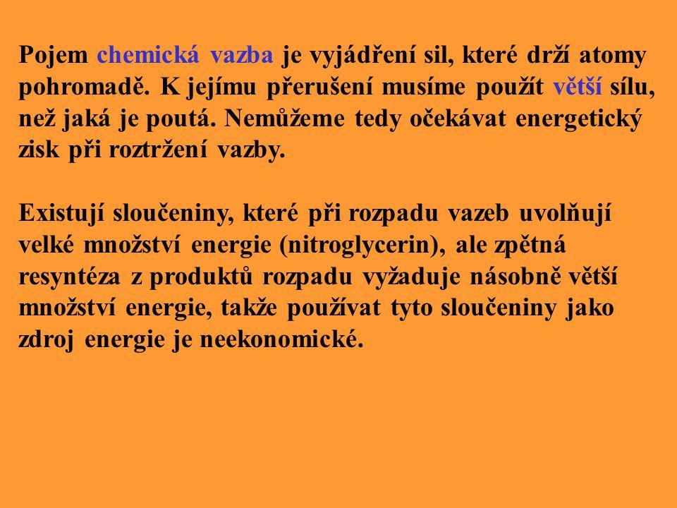 Pojem chemická vazba je vyjádření sil, které drží atomy pohromadě.