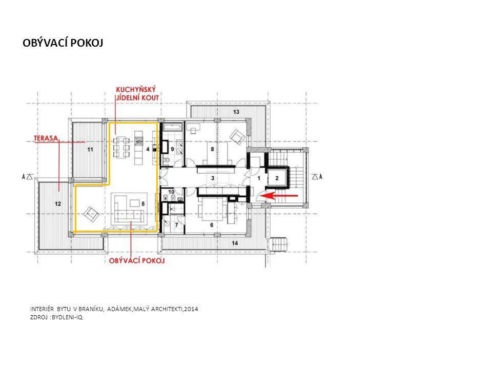 OBÝVACÍ POKOJ INTERIÉR BYTU V BRANÍKU, ADÁMEK,MALÝ ARCHITEKTI,2014 ZDROJ :BYDLENI-IQ