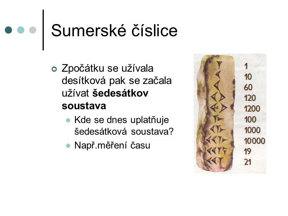 Klínové písmo Vyvinulo se z obrázkového písma Psalo se rákosem do hliněných destiček Mělo několik set znaků Ostatní státy písmo přebíraly